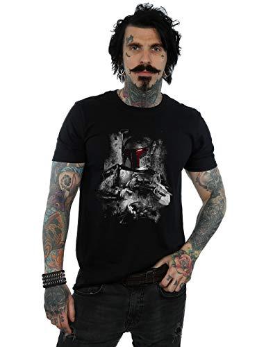 Star Wars Herren Boba Fett Distressed T-Shirt Schwarz Large