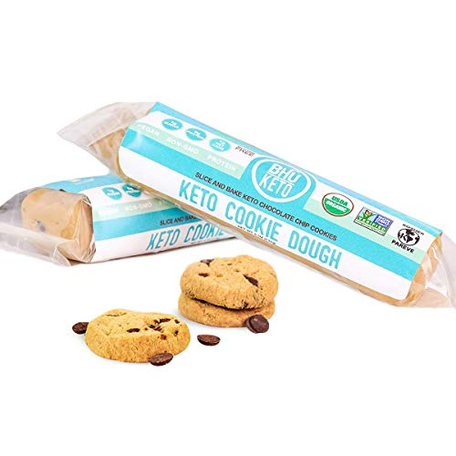 BHU Keto Bakeable Chocolate Chip Cookie Dough - Ready to Bake Organic & Vegan Dessert - Clean Ingredients which are Low Carb and Low Sugar, Grain and Gluten Free, Dairy-Free, Non-GMO (5 oz, 2 pack)