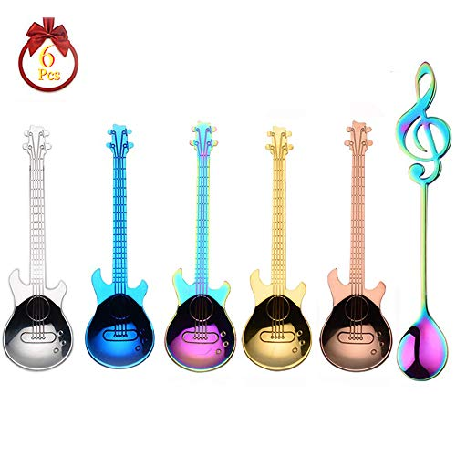Guitar Spoons Coffee Music Note Teaspoon Set ESRISE Stainless Steel Colorful Dessert Spoon Cute Demitasse Tea Scoop for Stirring Drink Mixing Milkshake Jam