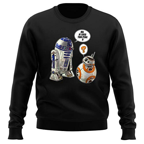 Pull Noir Parodie Star Wars - BB-8 et R2-D2 - BB, Je suis Ton père !! (Sweatshirt de qualité Premium de Taille XL - imprimé en France)