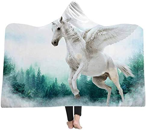 San Antonio Mall ACAO Cartoon Unicorn Fly Horse Hoodie Blan Omaha Mall Hooded Blanket Winter