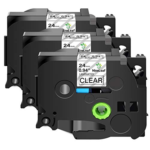 Nineleaf 3 Pack Black on Clear 24 mm x 8 m 1'' 26.2ft Label Tape Cassette Compatible for Brother P-Touch TZe151 TZ-151 TZe-151 TZ151 Laminated for PT-P700 PT-P750W PT-D600 PT-520 PT-530 Label Maker