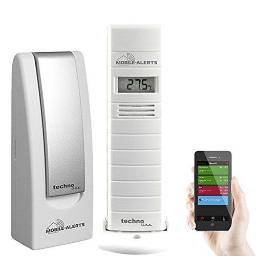 Technoline MA 10200 + Gateway Temperatur- und Luftfeuchteüberwachung von Terrarien/Gewächshäuser, Weiß, 3,8x2,1x12,8 cm