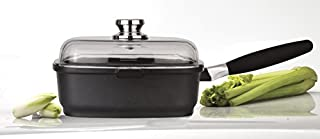 Eurocast Professional Cookware 10.25x10.25 Square Deep Saute Pan 3.2 L with Glass Lid and Removable Handle