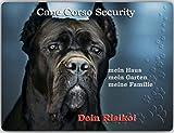 Merchandise for Fans, cartello di avvertimento in alluminio, 30 x 40 cm, motivo: Cane Corso Security (02)