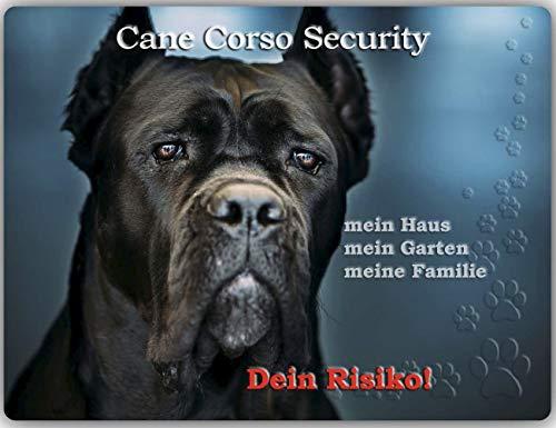 Merchandise for Fans Warnschild - Schild aus Aluminium 20x30cm - Motiv: Cane Corso Security (02)