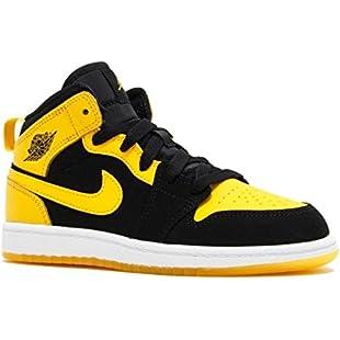Nike Boy's Air Jordan 1 (Mid) Basketball Shoes Black/Varsity Maize-White 3Y
