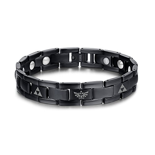 VNOX Titanium The Legend of Zelda Triforce Symbol Wristband Adjustable Link Bracelet Anniversary Birthday Gift for Men Boys Hyrule Warrior