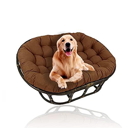 YHWL Cojines dobles de Papasan, cojín para silla de huevo, cojines colgantes para silla con lazos, cojines para silla de columpio, solo para patio al aire libre, jardín (sin silla), marrón, 50 x 90 cm
