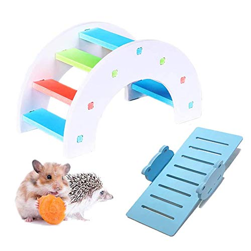 MUMAX Hamster Toys, DIY Wooden Rainbow Bridge with PVC Seesaw Sport Exercise Toys Set Great for Hamster Nest Mouse Mic Hedgehog Lizard Small Animals (Random Color)