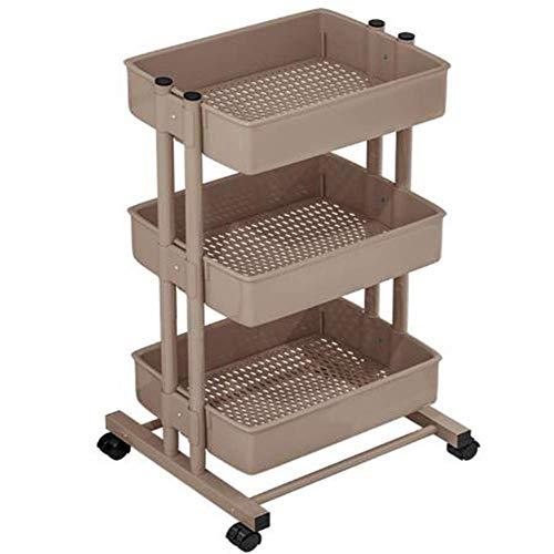 Detazhi Carro de la Cocina con Ruedas con 3 cestas de Almacenamiento de Vegetales, se Puede Utilizar para almacenar Suministros de Cocina, Dormitorio, baño, Negro (Color : Brown)