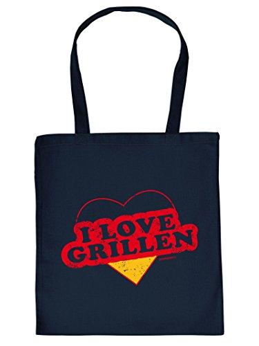Mega coole Baumwolltasche für den Grill Fan - I Love Grillen - Einkaufstasche Mitbringsel Grillparty Partygeschenk Geschenk für coole Männer