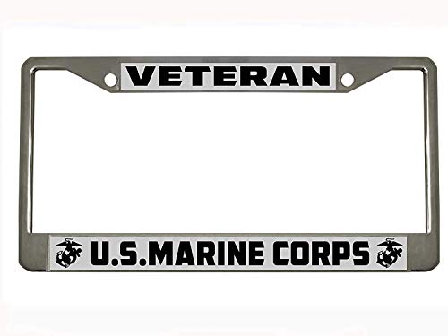 Marine Corps Marines Veteran Military Chrome Metal Auto License Plate Frame Car Tag Holder