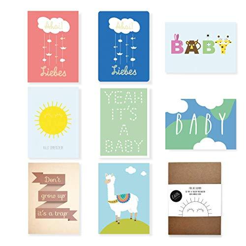 Baby, voor geboorte, Hallo zonneschijn, Yeah it's a baby, Alpaca, letters, dieren ansichtkaarten set