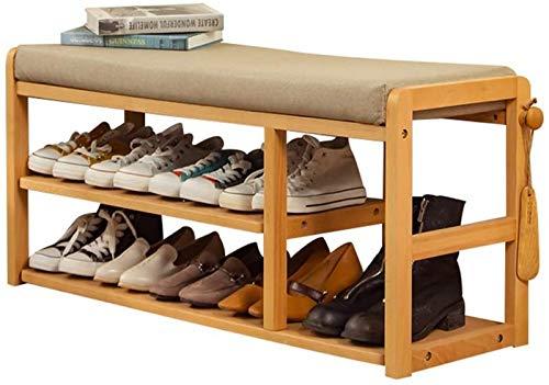aipipl Banco de Zapatos de Madera, Zapatero Moderno Simple de 2 Capas, Taburete de Almacenamiento para Entrada