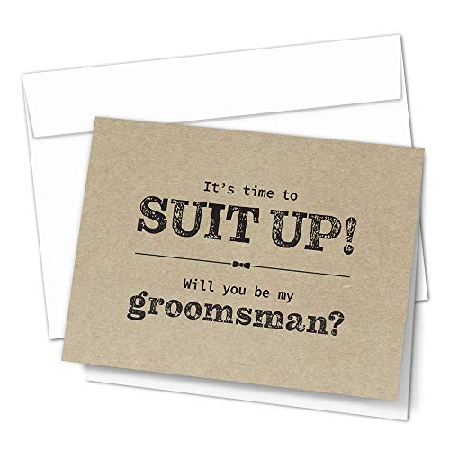Groomsman Proposal Cards by Hat Acrobat | 8 Will You Be My Groomsman and 2 Best Man Cards with Envelopes | Set of 10 Retro Groomsmen Cards