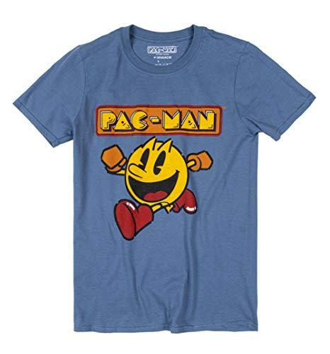 Official 3D Pac-Man Running and Logo T-shirt for Men, S to XL