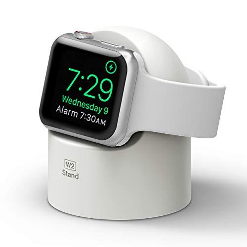 elago W2 Soporte Cargador Compatible con Apple Watch Series 7(2021), 6, SE (2020), 5, 4, 3, 2, 1 / 44mm, 42mm, 40mm, 38mm/ Modo de Nightstand, Estación de Carga (Blanco)