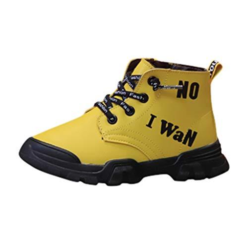 Fenverk Kinder Sneaker Kleinkind Baby Schlittschuh Jungs Weich Anti-Rutsch Sport Schuhe Winter Warm Halten Schnitt Sohle Turnschuhe Leder(Gelb,28 EU)