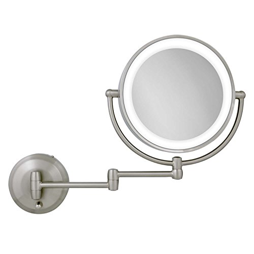 Zadro 10X/1X Magnification Next Generation LED Lighted Wall Mount Mirror, Satin Nickel, 1.0 Count