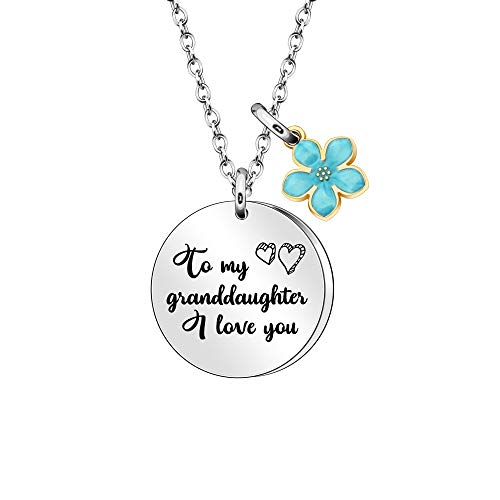 mjuio to My Granddaughter Pendant Necklace from Grandma Grandp Christmas Birthday Thanksgiving Family Necklace