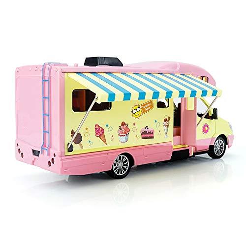 Xolye Kinderspielhaus Ice Cream Caravan Spielzeug Simulation Ton und Licht Pull Back-Spielzeug-Auto mit geöffneter Tür Legierung Version Mädchen-Spielzeug-Auto-Modell-Rosa