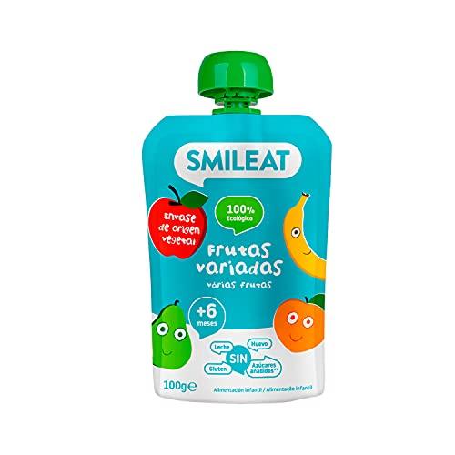 Smileat - Pouch de Fruta Variada Ecológica, Ingredientes Naturales Bebibles, Para Bebés a Partir de los 6 Meses - 100g
