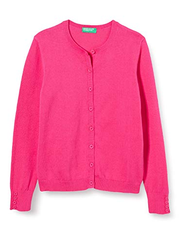 United Colors of Benetton Mädchen Maglia Coreana M/l Strickjacke, Pink (Pink Peacock 2l3), 128 (Herstellergröße: Medium)