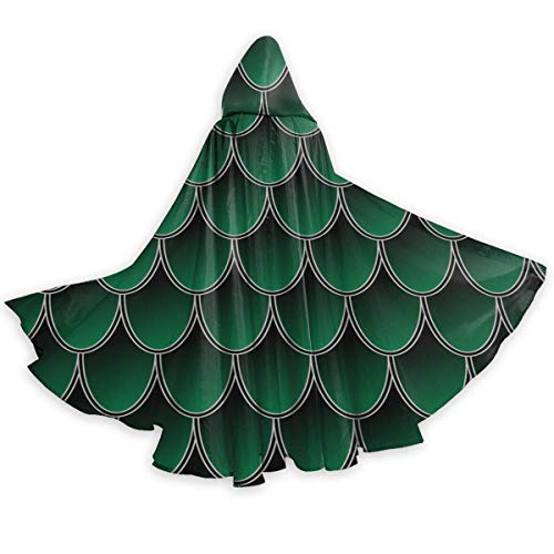 Zome Lag Mermaid Dragon Squama Scale Green Capa con Capucha De Halloween,Capa De Fiesta con Capucha,Bruja Manto del Diablo,Capa del Cabo Halloween
