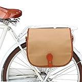 TOURBON Vintage Canvas Pannier Shoulder Bag Bike Bicycle Rear Rack Tablet Carrier Bag - Khaki