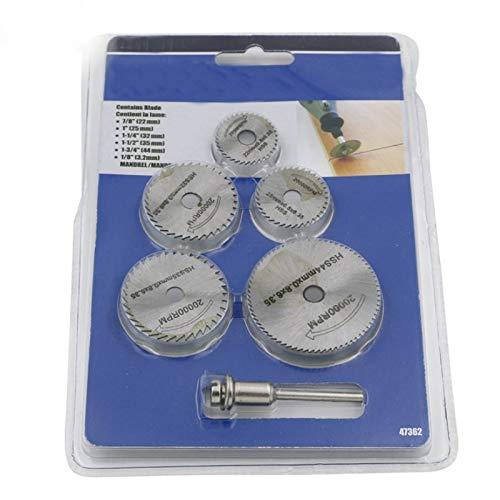 WY-YAN Buenas 6pcs / Set Mini sierra circular HSS discos de corte de la hoja de la madera taladro for herramientas rotativas de metal Cortadora mecánica herramienta de mandril Conjunto
