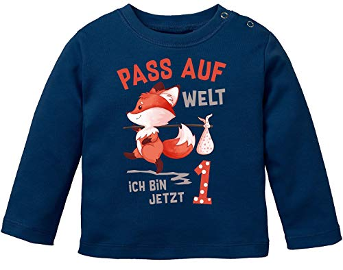 MoonWorks® - Camiseta de manga larga para bebé, diseño con texto en alemán 'Pass auf Welt ich Bin jetzt 1 2 zorros, algodón orgánico Pasa al mundo Navy. 68 cm-74 cm