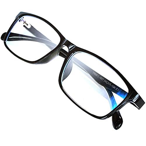 LAMIO ブルーライトカット メガネ PCメガネ パソコン用メガネ JIS規格検査済 ブルーライト HEV90%カット UV 紫外線カット 軽量 ウェリントン 男女兼用 伊達メガネ 度なし (ブラック)