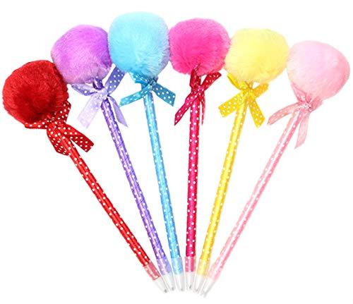 Maydahui 12PCS Cute Plush Pom Pom Ballpoint Pen Bowknot Polka Dot PomPom Pompon Blue Gel Ink Pens for School Kids Girls