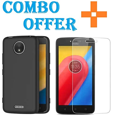 Sbuybay Combo Offer Silicone Matte Candy Back Case with 2.5D Tempered Glass for Motorola Moto C Plus
