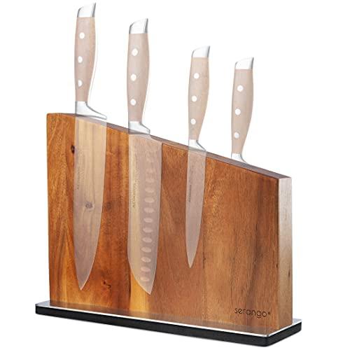 SERANGO Messerblock magnetisch (beidseitig) - Akazie 30cm ohne Messer - schonende Aufbewahrung wertvoller Küchenmesser