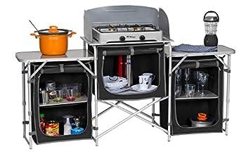 Berger © Meuble Cuisine de Camping XL Grande Armoire de Cuisine Pliable Meuble de Rangement Placard