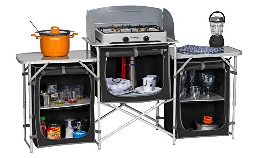 BERGER Campingküche XL Küchenbox faltbar Aufbauschrank Camping Aufbewahrungsbox Faltschrank Küche