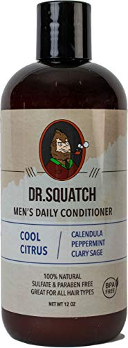 Dr. Squatch Men's Hair Conditioner – Stimulates, Hydrates, Soothes Scalp – Naturally Sourced Daily Conditioner with Organic Peppermint, Calendula, Clary Sage
