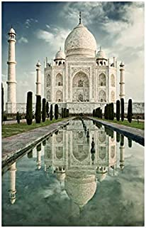 InterestPrint View of Taj Mahal at Sunrise India Architecture Poster Wall Art Print Modern Abstract Artwork for Gym Classroom Home Office Dorm, Unframed 24x36 Inch