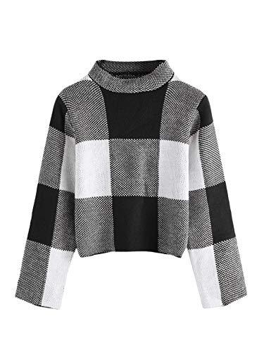 Floerns Women's Long Sleeve High Neck Plaid Crop Sweater Pullover Black M