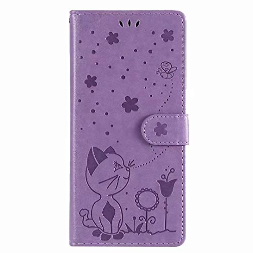 Oppo A53/A33/A33S Case, Shockproof Premium PU Leather Bee Shock-Absorption Notebook Wallet Phone Cases with Magnetic Kickstand Card Holders Flip Protective Cover for Oppo A53/A33/A33S purple