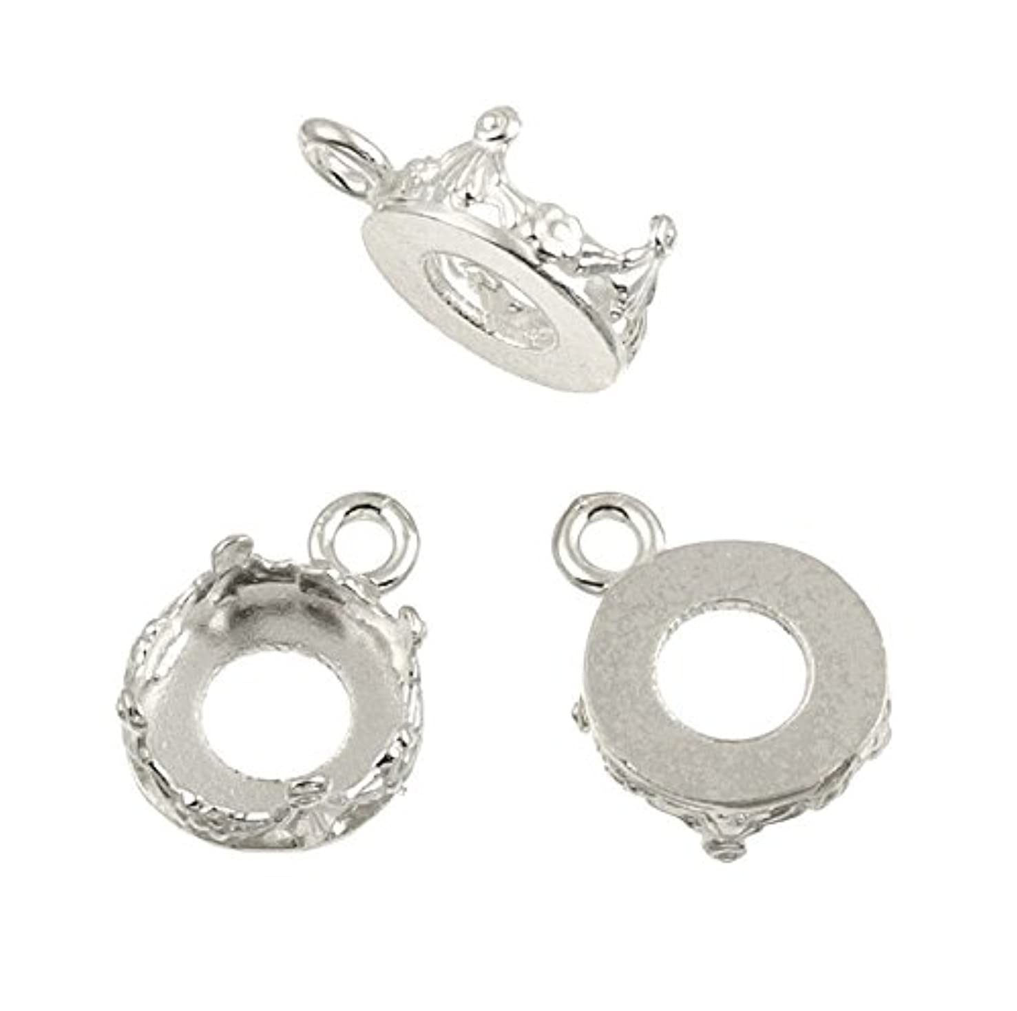5 Pack - Round Bezel Cup Settings 14 Mm Sterling Silver 925 Pendant Earring Charm 346