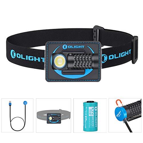 Olight Perun Mini Linterna Frontal 1000 lúmenes Cool White LED Recargable USB Linterna Pequeña linterna EDC con batería 16340 + caja de batería (Negro + cinta para la cabeza)