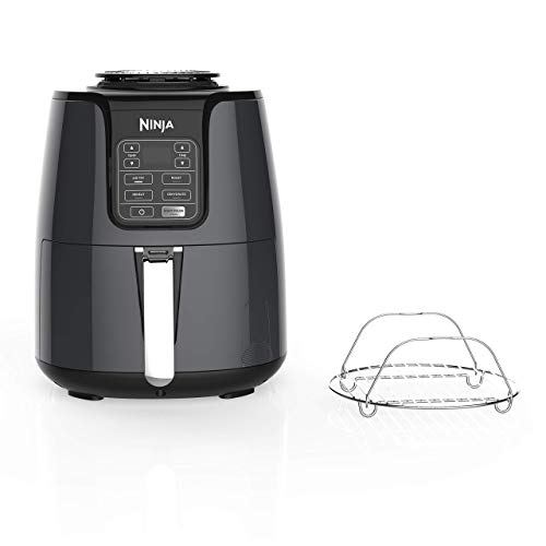 Ninja Air Fryer, 1550-Watt Programmable Base for Air Frying, Roasting, Reheating & Dehydrating with 4-Quart Ceramic Coated Basket (AF101), Black/Gray (Renewed)