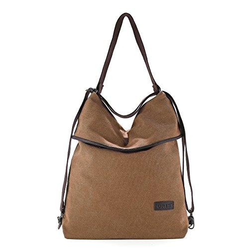 Canvas Rucksack, JOSEKO Women Canvas Casual Multifunctional Microfiber Leather Large Capacity Handbag Shoulder Bags Backpack