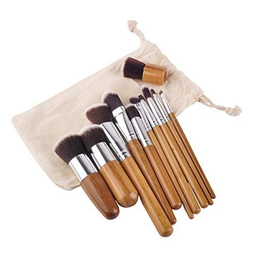 JFFFFWI Pinceau de Maquillage Beauty Makeup Tool 11 Bamboo Handle Makeup Brush Set Bamboo Handle Canvas Bag Bamboo Makeup Tool