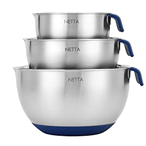 3 PIECE MIXING BOWL: This set of 3 high-grade #201 stainless steel mixing bowls with handles will help you with all your cooking needs. Whether it be mixing or preparing, this set of bowls is sure to come in handy in the kitchen. DIFFERENT SIZES: Thi...