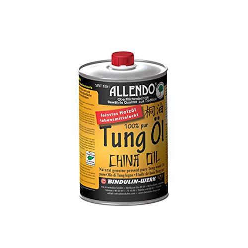 Allendo® 100% pures Tung Öl, für Innen & Außen, Holzimprägnierung farblos seidenmatt von Bindulin-1L