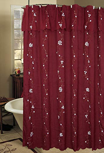 Creative Linens Daisy Embroidered Floral Fabric Shower Curtain with Attached Valance Burgundy Holiday
